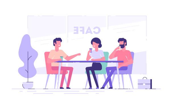 bildbanksillustrationer, clip art samt tecknat material och ikoner med en grupp vänner eller kollegor som pratar på ett café. flat vektorillustration. - fika