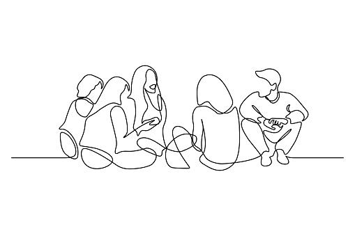 Group of young people sitting on ground together and talking. Continuous line art drawing style. Minimalist black linear sketch on white background. Vector illustration