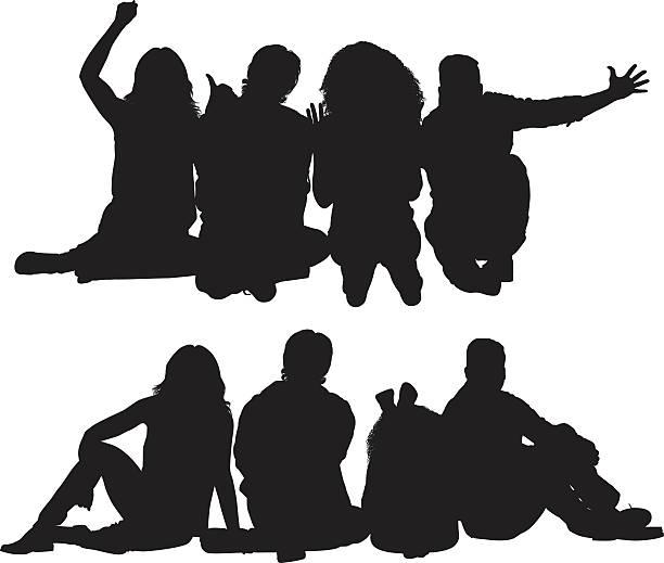 Gruppe von Freunden sitzen auf dem Boden – Vektorgrafik