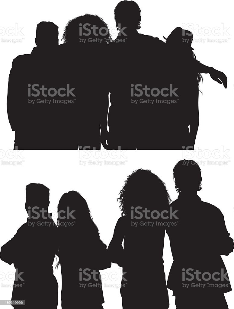 Group of friends standing together vector art illustration