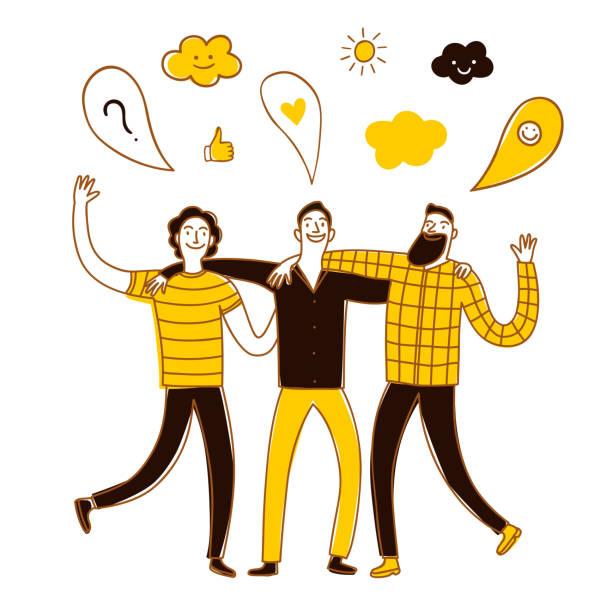 ilustraciones, imágenes clip art, dibujos animados e iconos de stock de grupo de amigos, hablar y caminar. - hermano