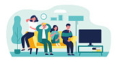Group of friends watching scary movie flat vector illustration. Cartoon people sitting at sofa together and watching horror via TV. Friendship and leisure concept.