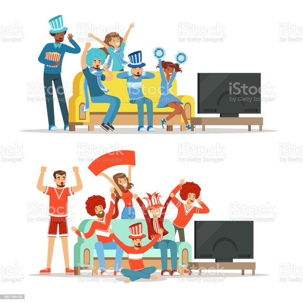 Gruppe von Freunden, Sport im Fernsehen ansehen und feiern Sieg zu Hause. Leute, gekleidet in rot und blau, unterstützen ihre Lieblingsmannschaft, bunten Illustrationen – Vektorgrafik