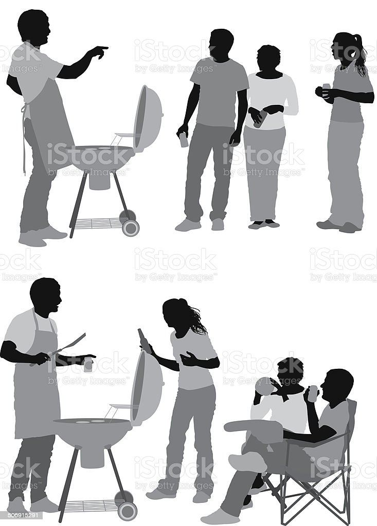 Group of friends with barbecue vector art illustration