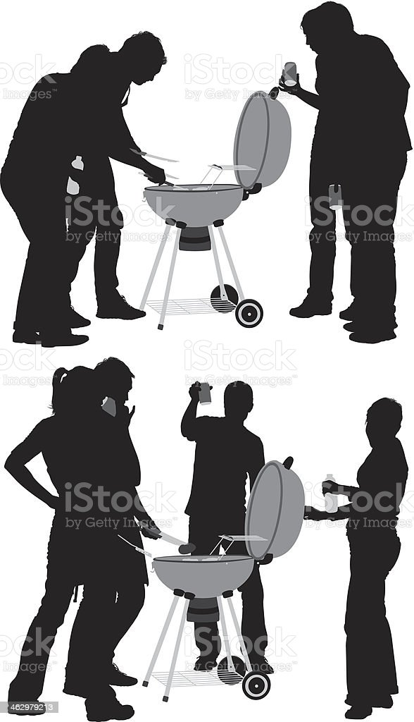 Group of friends with BBQ vector art illustration