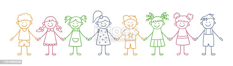 istock Group of funny kids holding hands. Friendship concept. Happy cute doodle children. Isolated vector illustration 1254898306