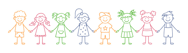 Group of funny kids holding hands. Friendship concept. Happy cute doodle children. Isolated vector illustration