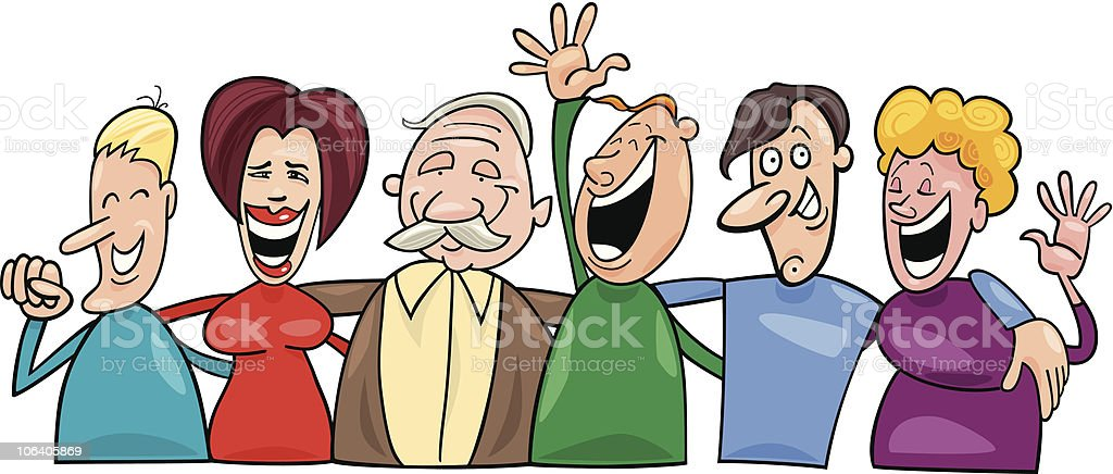 group of funny people vector art illustration