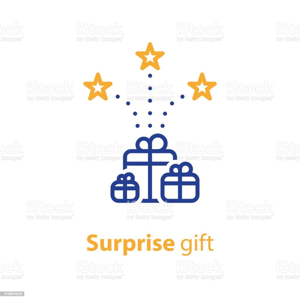 Group of gifts, award and celebration, receive present vector art illustration