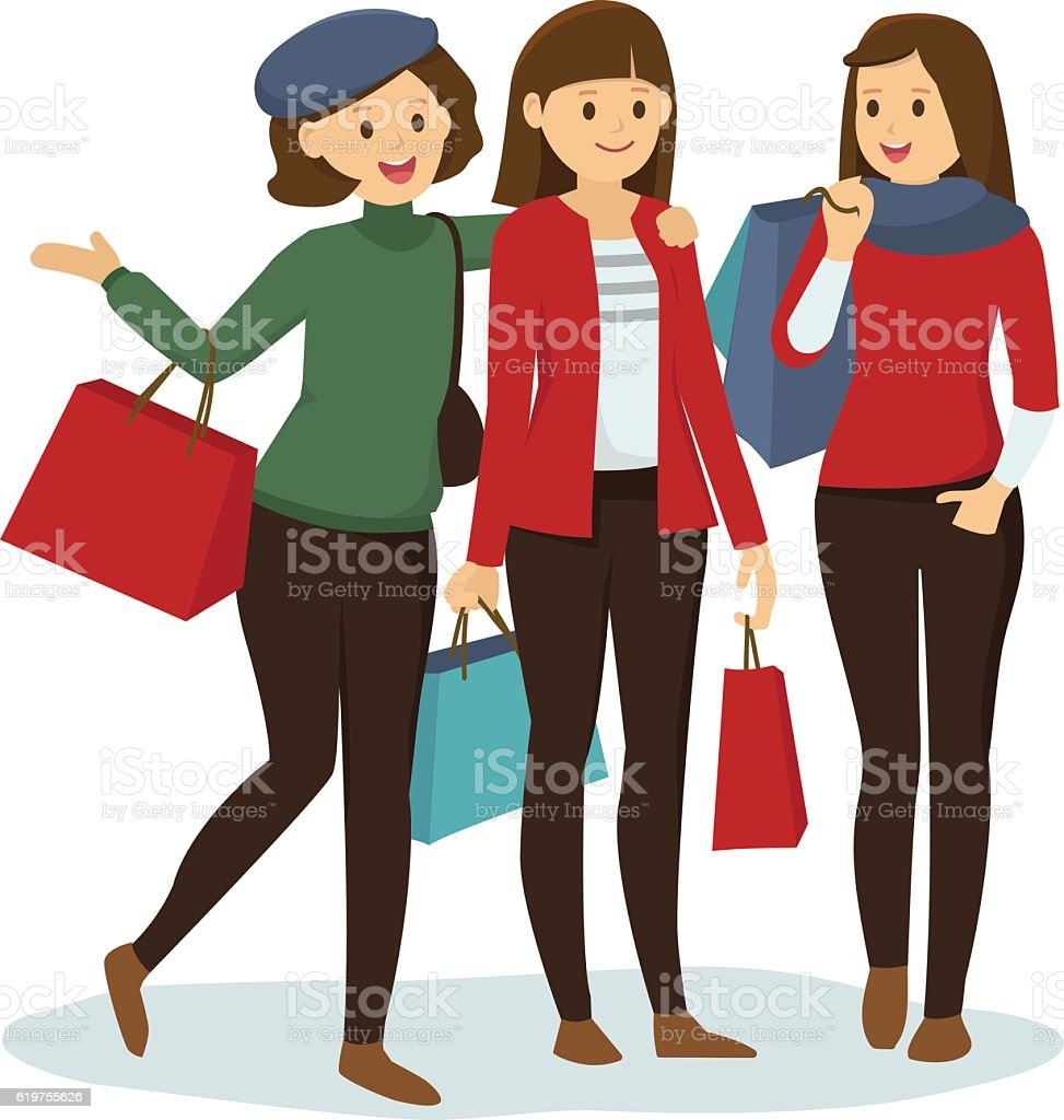 87e0a40d5 Group of girl friends go shopping for Christmas royalty-free group of girl  friends go