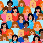 Group of girls of different nationalities seamless pattern. International Women s Day. Power, fight, protest, strength, rights concept.