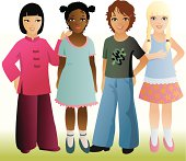 Four girls with different ethnic background together as friends.