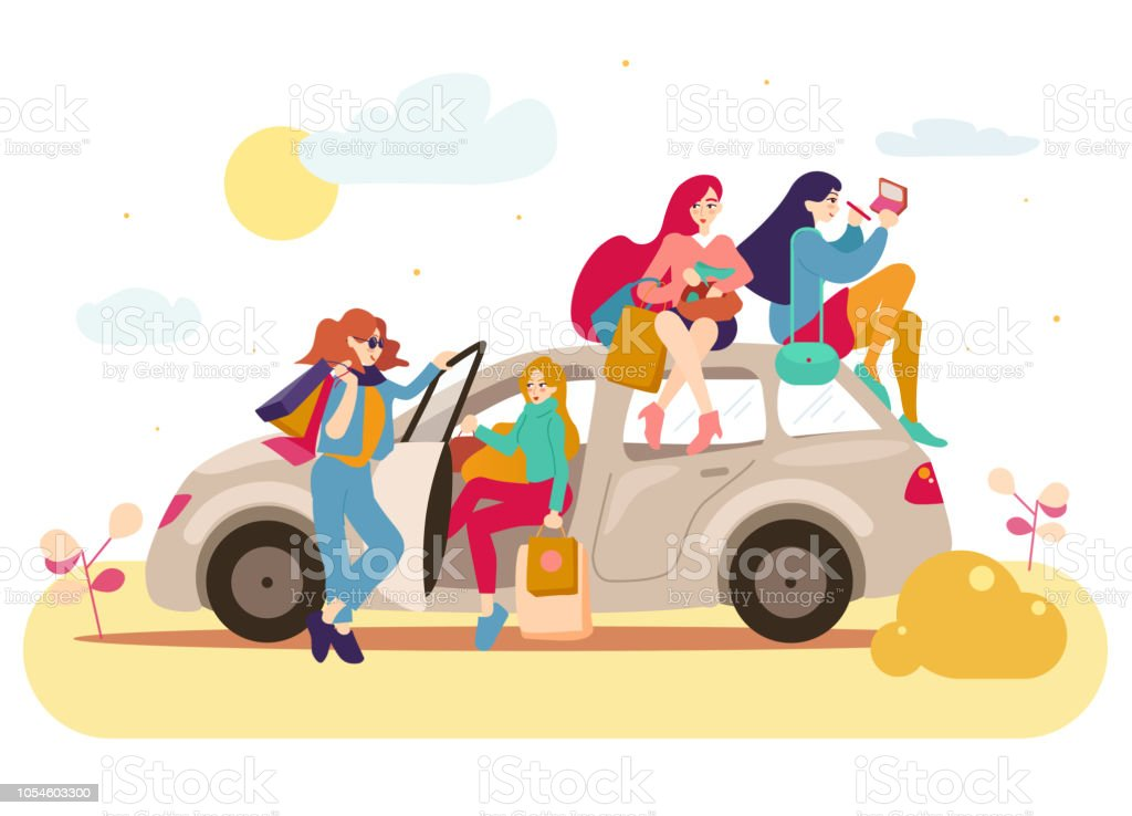 a288596756 Group of girls with bags after shopping in a car royalty-free group of girls