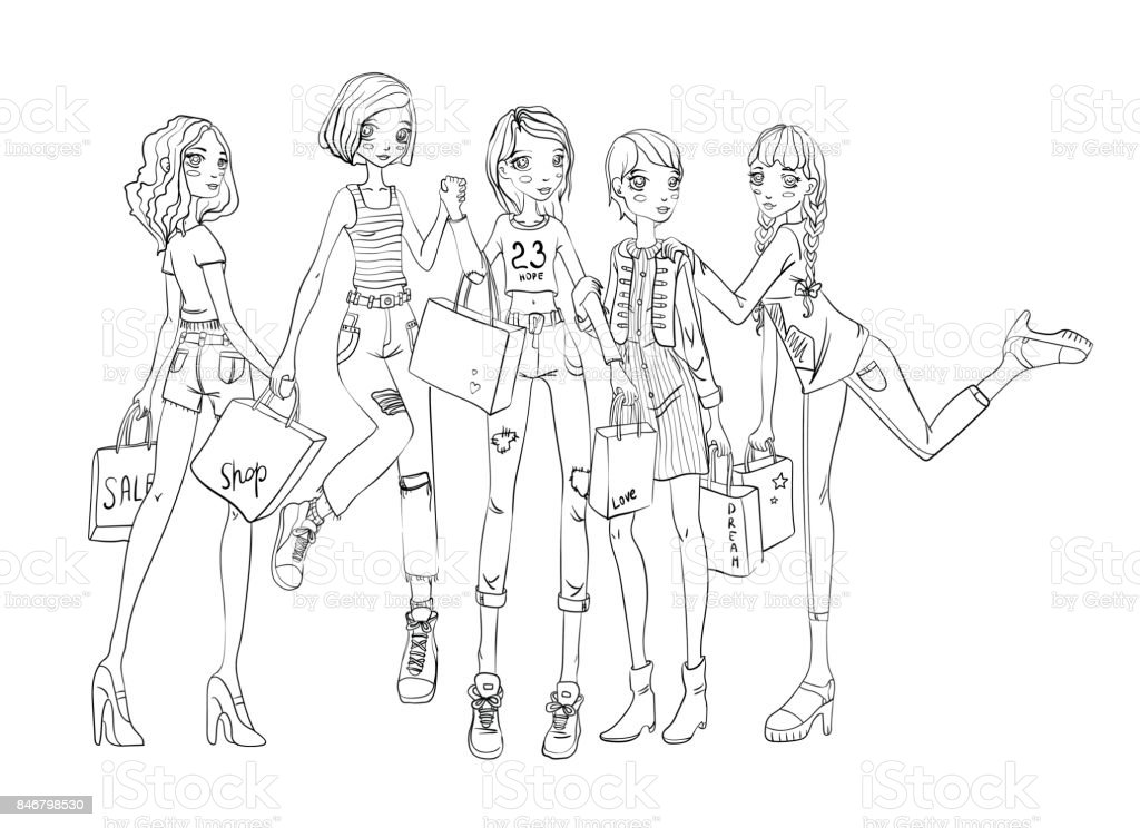 A Group Of Girls With Shopping Bags In Hands Outline
