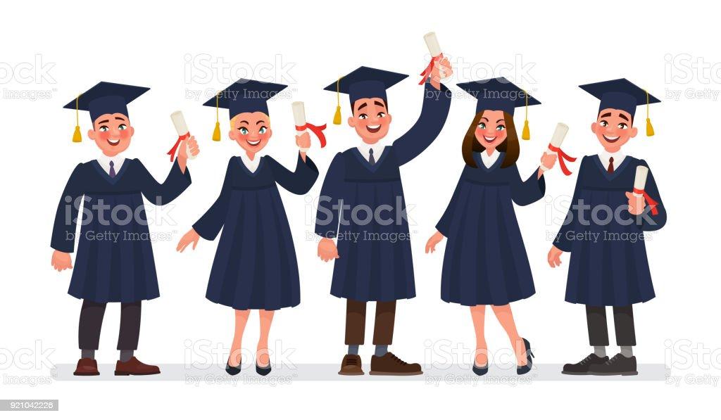 Gruppe Von Studenten Der Absolventinnen Und Absolventen Mit Einem