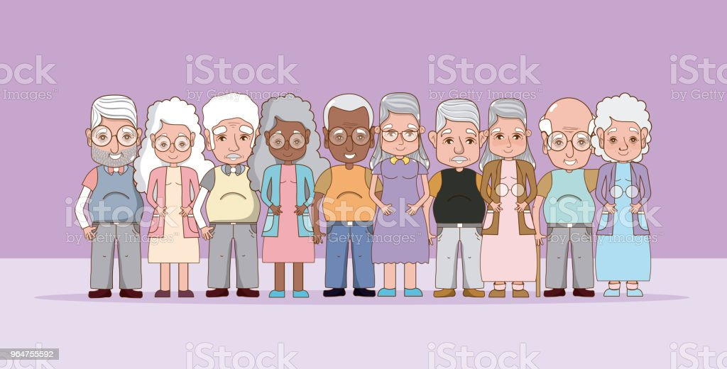 Group of grandparents cartoons royalty-free group of grandparents cartoons stock illustration - download image now