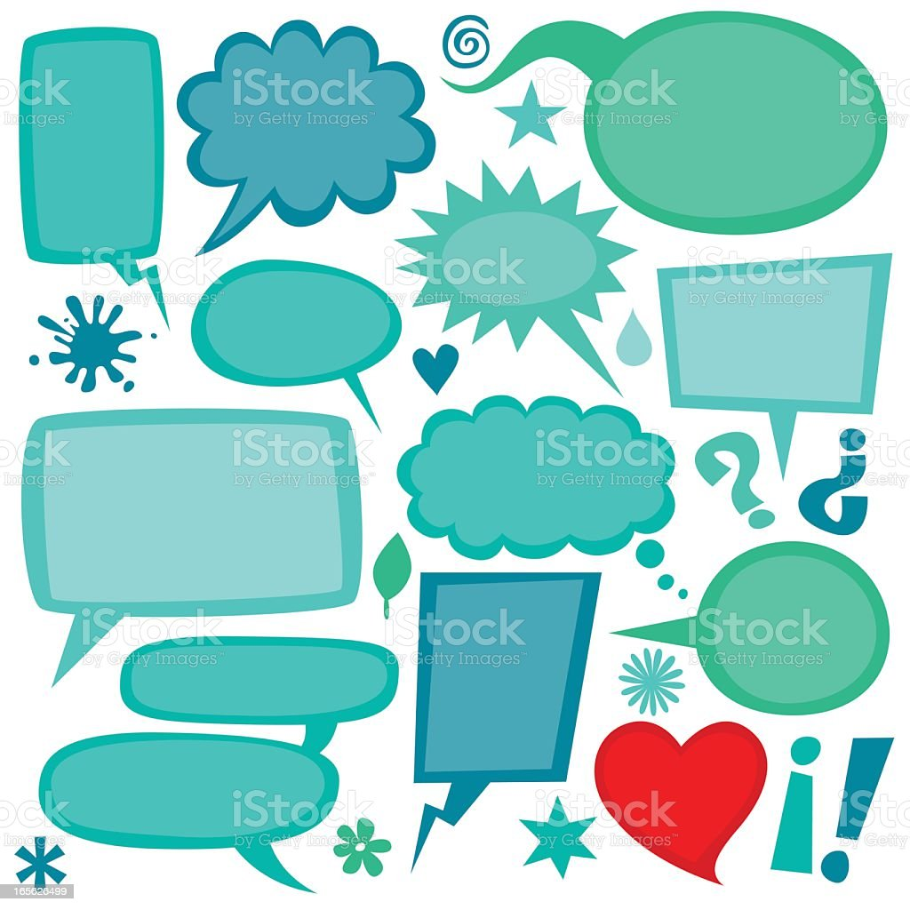 Group of green and red speech bubbles vector art illustration