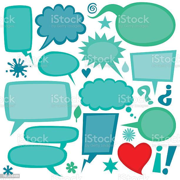 Group Of Green And Red Speech Bubbles Stock Illustration - Download Image Now
