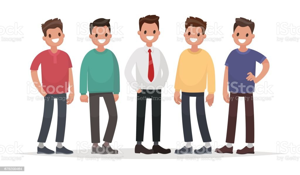 Group of guys. Set of male characters on a white background. Vector illustration in a flat style vector art illustration