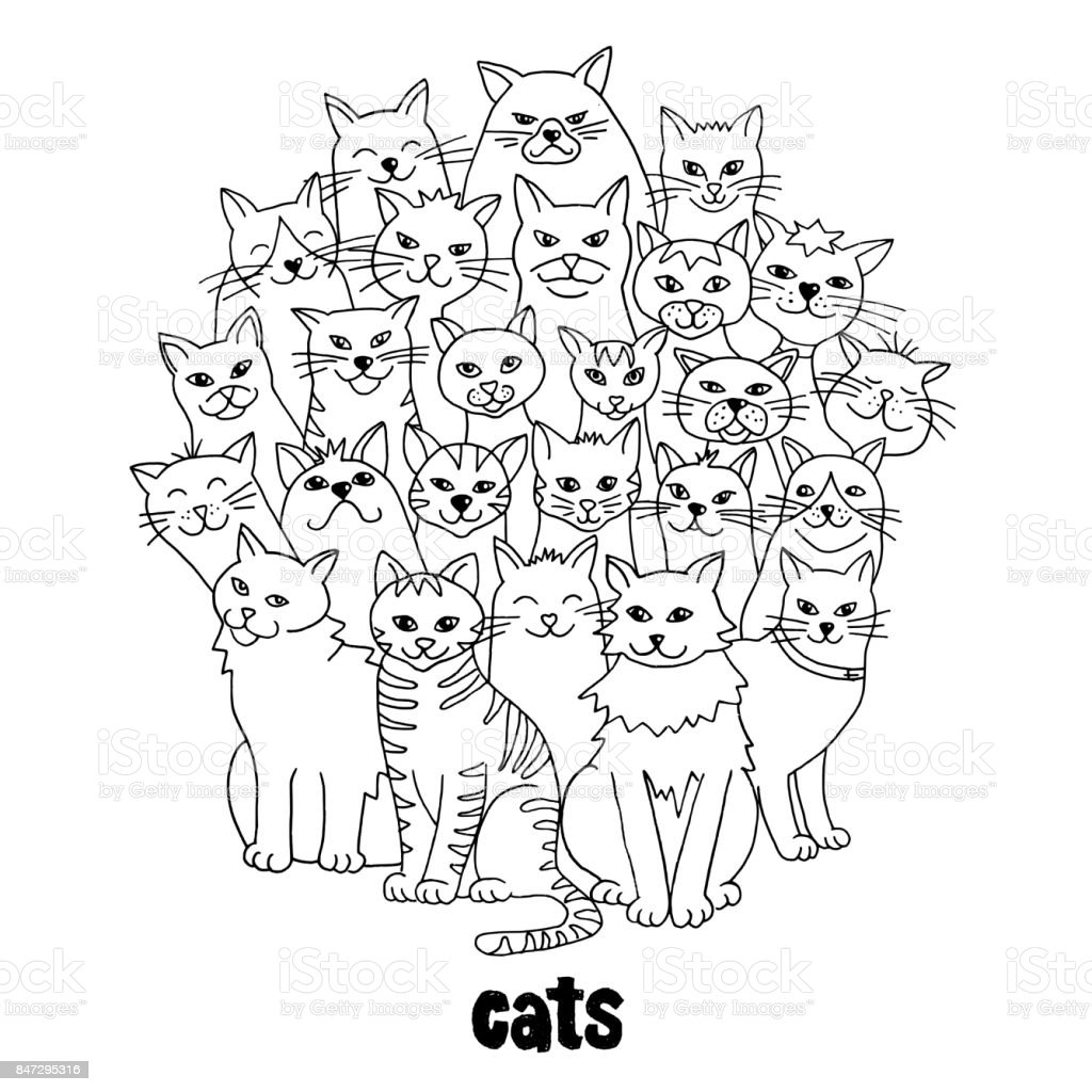 Group of hand drawn cats royalty-free group of hand drawn cats stock vector art & more images of animal