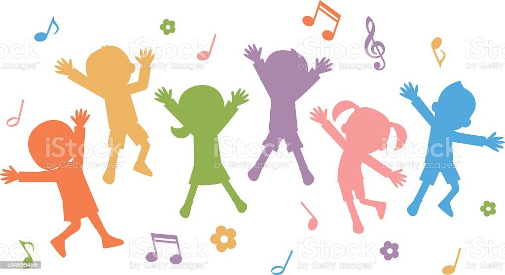 Group of hand drawn children silhouettes jumping vector art illustration