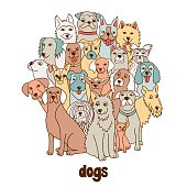Group of hand drawn dogs, standing in a circle