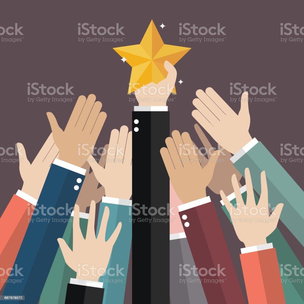Groupe de main pour atteindre pour la star - Illustration vectorielle