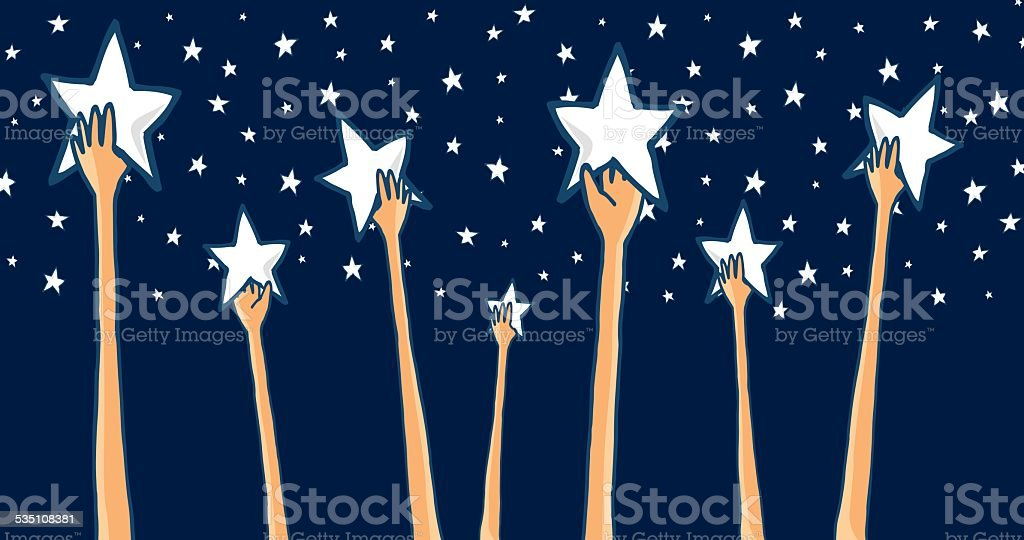Group of hands reaching for the stars or success vector art illustration
