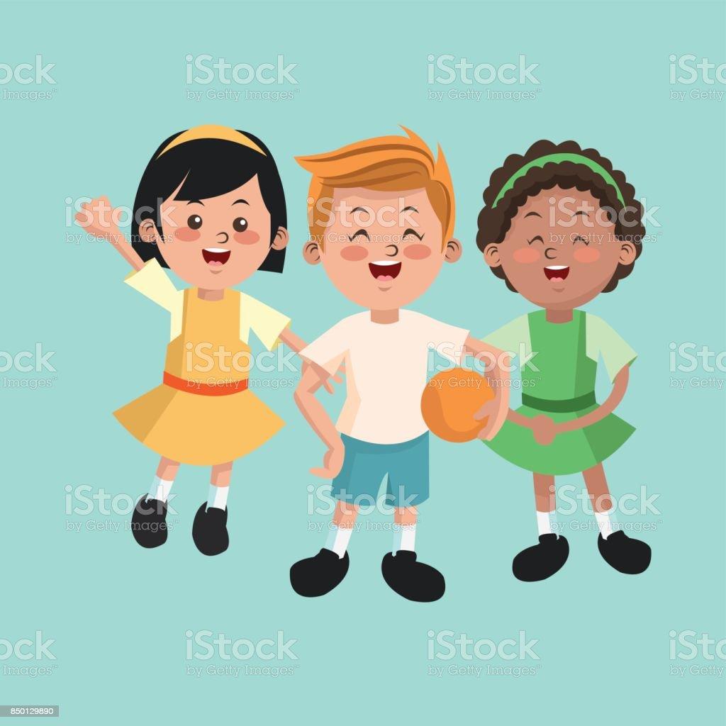Ilustración De Grupo De Niños Felices Y Niñas Dibujos Animados Niños