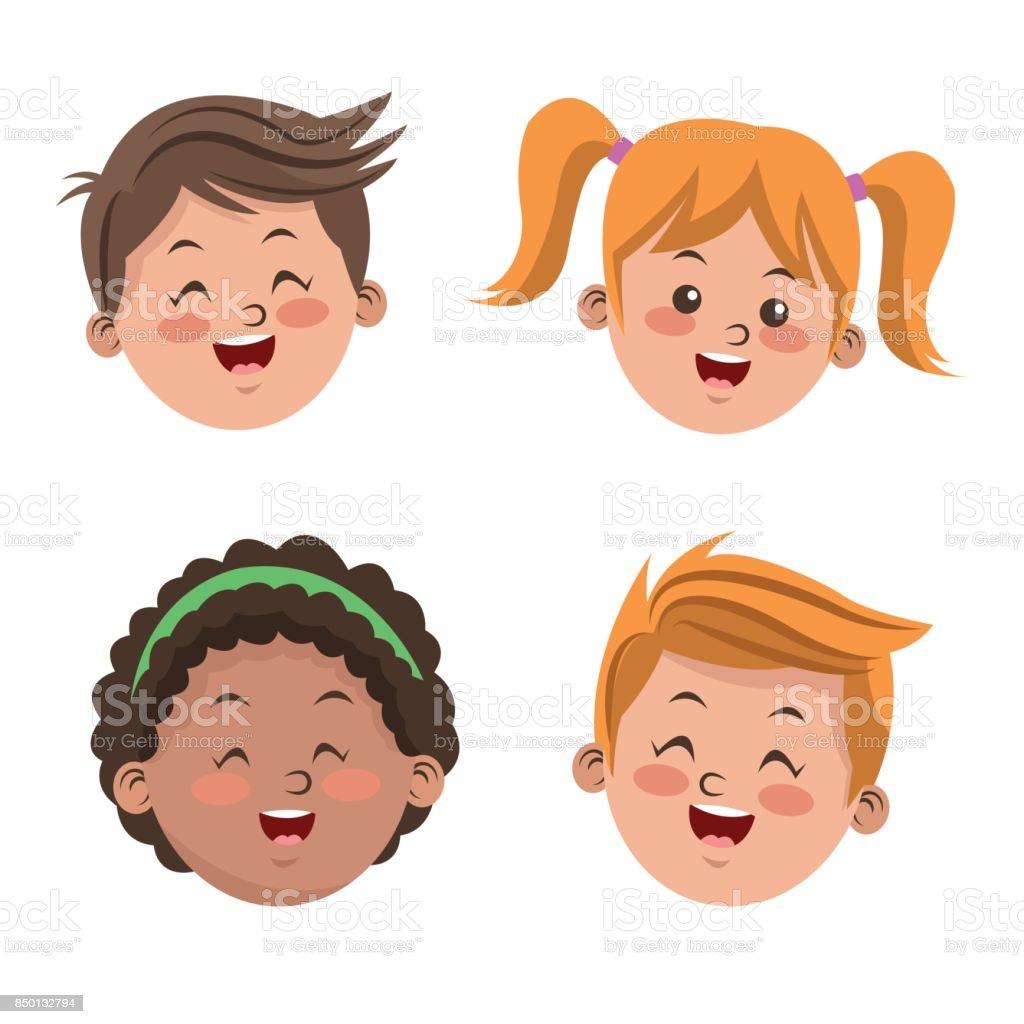 Group of happy boys and girls cartoon kids vector art illustration