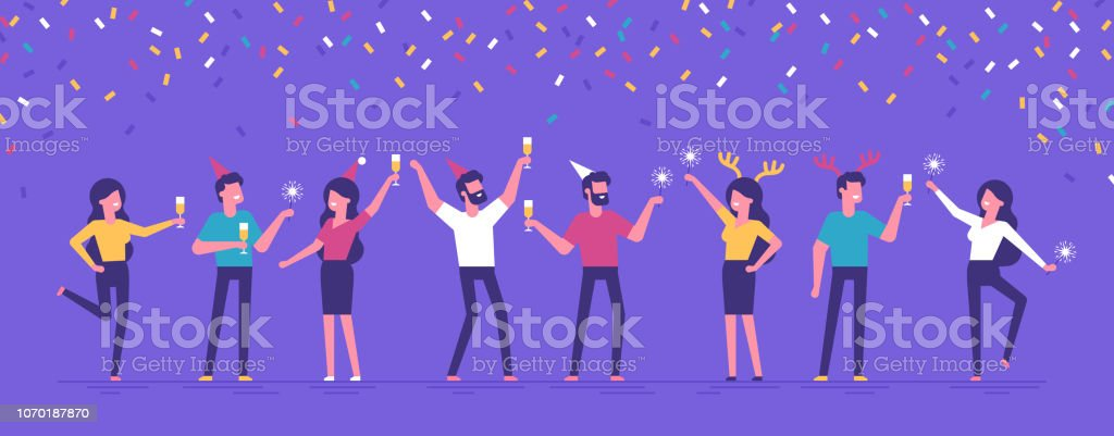 Group of happy business people at a Christmas and New Year's corporate party. Positive men and women with champagne and sparklers dancing and having fun. Set of modern vector characters. - Royalty-free Adulto arte vetorial