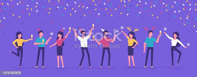 Group of happy business people at a Christmas and New Year's corporate party. Positive men and women with champagne and sparklers dancing and having fun. Set of modern vector characters.
