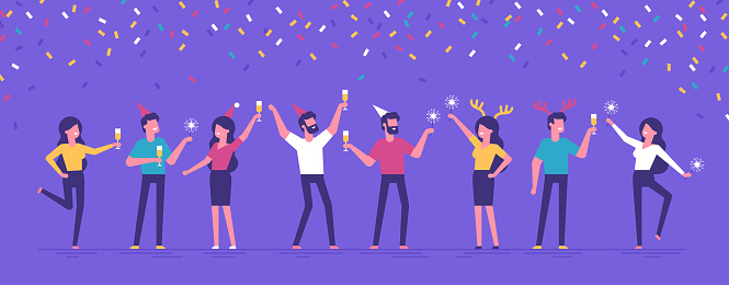 Group Of Happy Business People At A Christmas And New Years Corporate Party Positive Men And Women With Champagne And Sparklers Dancing And Having Fun Set Of Modern Vector Characters - Arte vetorial de stock e mais imagens de Adulto