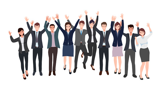 Group of happy businessman and businesswoman team raising hand celebrating success in flat icon design