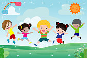 Group of happy children jumping on summer meadow, kid jump together Template for advertising brochure.
