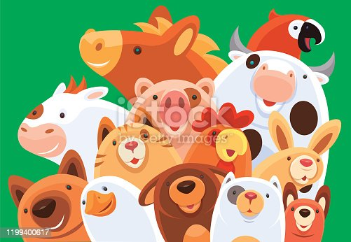 istock group of happy domestic animals 1199400617