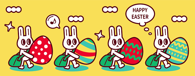 Group of happy Easter bunny with messenger bag delivering Easter Eggs