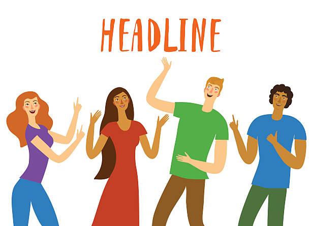 illustrazioni stock, clip art, cartoni animati e icone di tendenza di group of  happy friends pointing on headline - mano donna dita unite