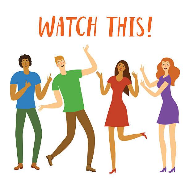 illustrazioni stock, clip art, cartoni animati e icone di tendenza di group of  happy friends pointing on title - mano donna dita unite