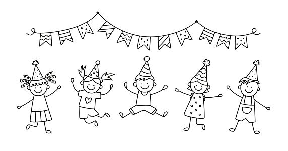 A group of happy jumping kids at a birthday party. Children jump under the bunting flags on a fun holiday. Hand drawn children drawing. Vector illustration isolated in doodle style