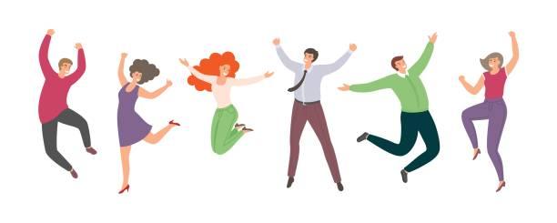 白い背景に隔離されたフラットなスタイルの幸せなジャンプの人々のグループ。手描きの面白い漫画の女性と男性 - ドキドキ点のイラスト素材/クリップアート素材/マンガ素材/アイコン素材