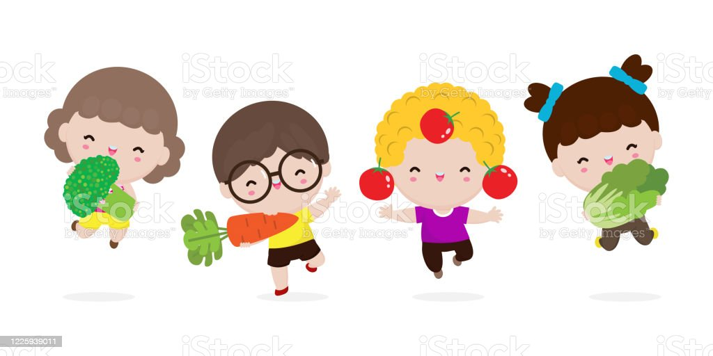 Group Of Happy Kids And Vegetables Cute Cartoon Children Eating Broccoli Carrot Tomato Chinese Cabbage Child Holding Smiling Live Vegetables Healthy Food In The Farm Isolated On White Background Stock Illustration