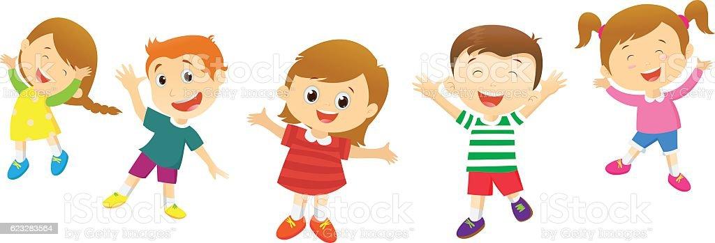 Group Of Happy Kids Cartoon Stock Illustration - Download ...