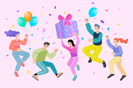 Group of happy people celebrating holiday. Man and woman hold gift box having fun with friends isolated. Person with balloons. colorful confetti vector flat illustration.