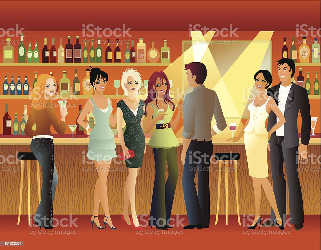 Group of Happy People Standing at Bar royalty-free stock vector art