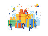 Group of happy people with pile of big gift box, online reward, present vector illustration concept, can use for landing page, template, ui web, homepage, poster, banner, flyer. Christmas gifts