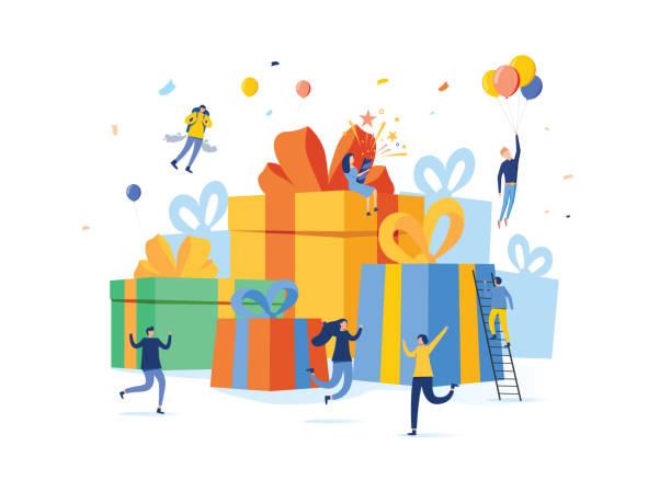 grupa szczęśliwych ludzi ze stosem dużego pudełka na prezenty, nagrodą online, koncepcją ilustracji wektorowej, może wykorzystać do strony docelowej - gift stock illustrations