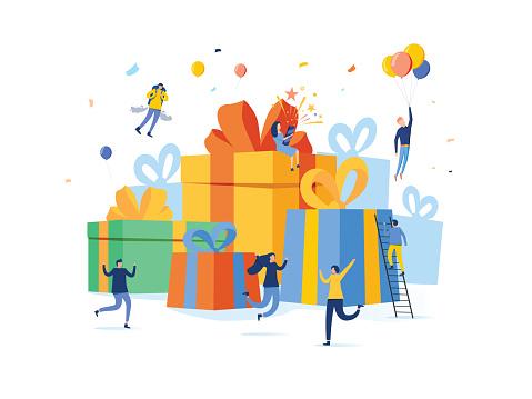 Group Of Happy People With Pile Of Big Gift Box Online Reward Vector Illustration Concept Can Use For Landing Page - Arte vetorial de stock e mais imagens de Aberto