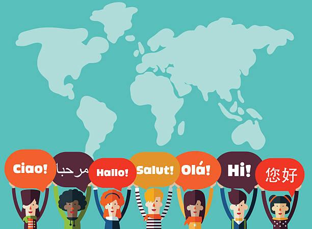 eine gruppe von glücklichen menschen mit sprechblasen in verschiedenen sprachen - englischlernende stock-grafiken, -clipart, -cartoons und -symbole