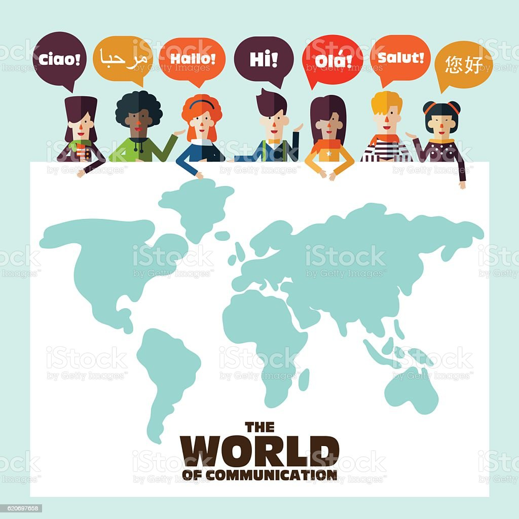 Group of happy people with speech bubbles in different languages vector art illustration